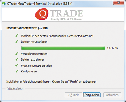 Installationsende MT4 Windows