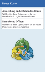 Loginauswahl Android MT5