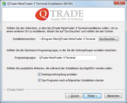 Installation des MT5 auf Windows