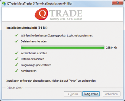 Installationsende MT5 auf Windows