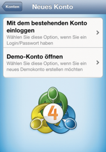 Loginfenster iOS MT4