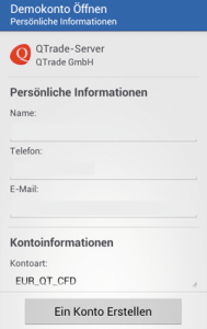 Registrierung Demo MT5 Android