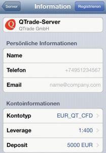 Registrierung Demo iOS MT5